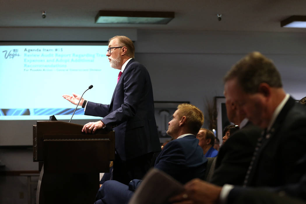 Attorney Todd Bice talks about an audit of the Las Vegas Convention and Visitors Authority showing the misuse of airline gift cards during a board meeting at the Las Vegas Convention Center in Las ...