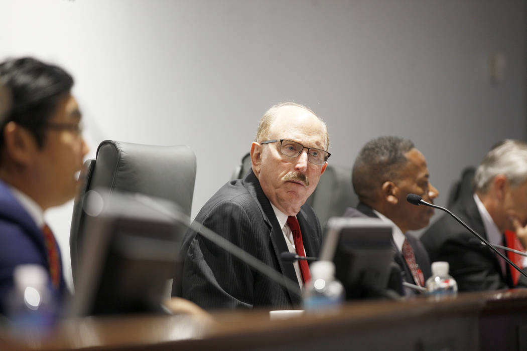Las Vegas Convention and Visitors Authority member Bill Noonan listens to a speaker at a board of directors meeting at the Las Vegas Convention Center in Las Vegas, Tuesday, May 8, 2018. Rachel As ...