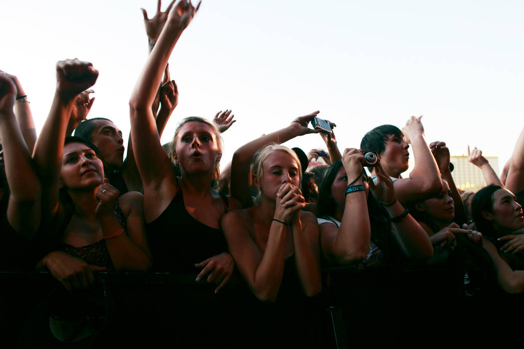 Fans watch A Day To Remember perform at Warped Tour 2011 in downtown Las Vegas Thursday night, June 30, 2011. (ALYSSA ORR/LAS VEGAS REVIEW-JOURNAL)