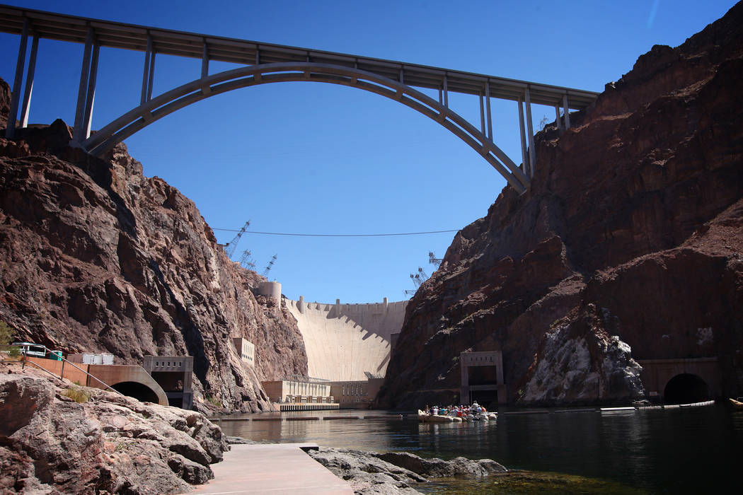 The Mike O'Callaghan-Pat Tillman Memorial Bridge and Hoover Dam are seen on on Wednesday, June 27, 2012. (Las Vegas Review-Journal)
