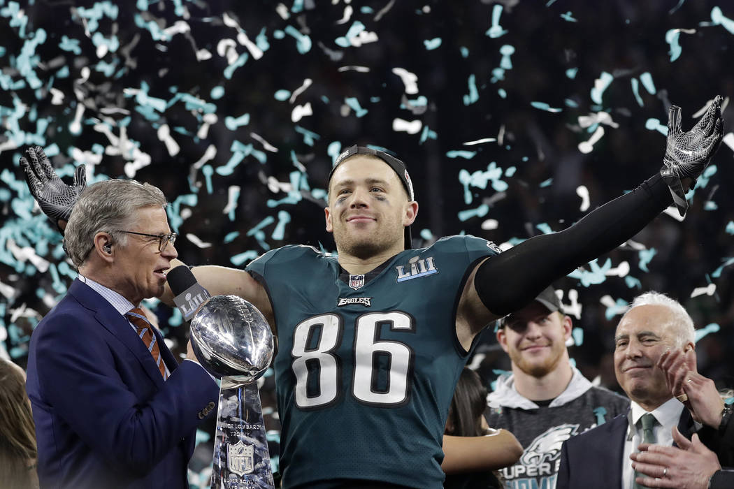 Philadelphia Eagles' Zach Ertz celebrates after the NFL Super Bowl 52 football game against the New England Patriots, Sunday, Feb. 4, 2018, in Minneapolis. The Eagles won 41-33. (AP Photo/Matt Slocum)