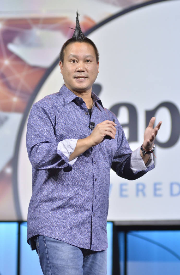 Zappos CEO Tony Hsieh speaks at the Travel Leaders Network 2018 EDGE International Conference at Caesars Palace at 3570 S. Las Vegas Blvd. in Las Vegas on Friday, June 15, 2018. Bill Hughes/Las Ve ...