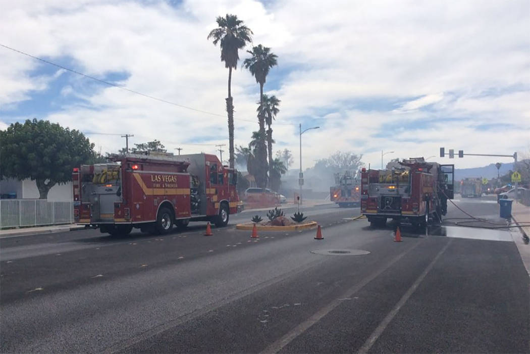Crews fight a fire on Alta Drive in Las Vegas on Friday. (Las Vegas Fire & Rescue via Twitter)