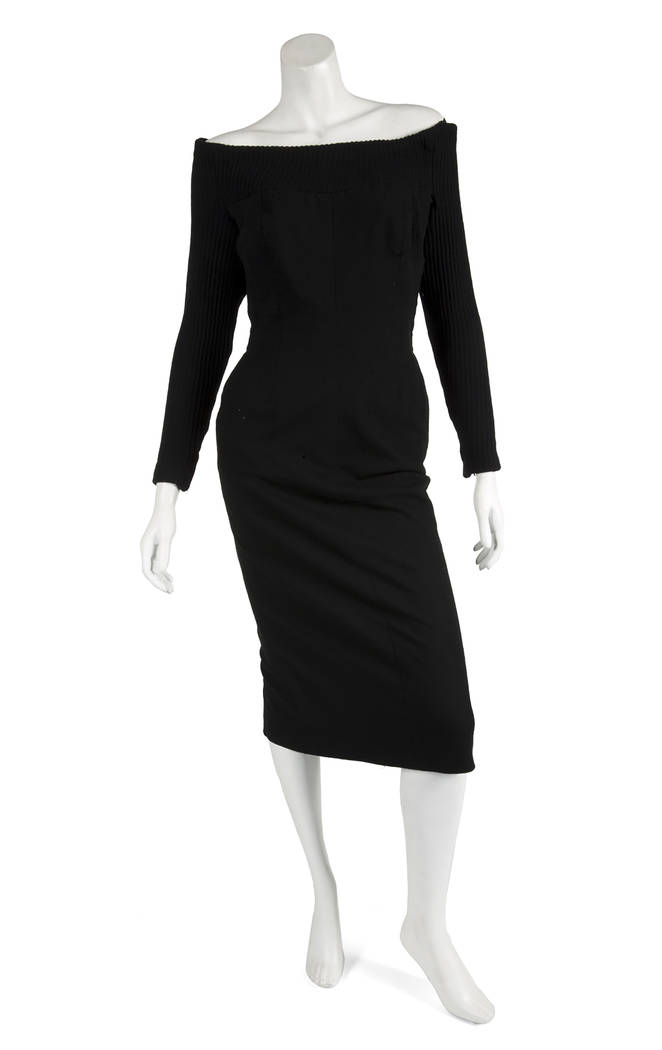 A three-quarter-length black wool dress with knit ballet collar and long sleeves owned by Marilyn Monroe. (Julien's Auctions)