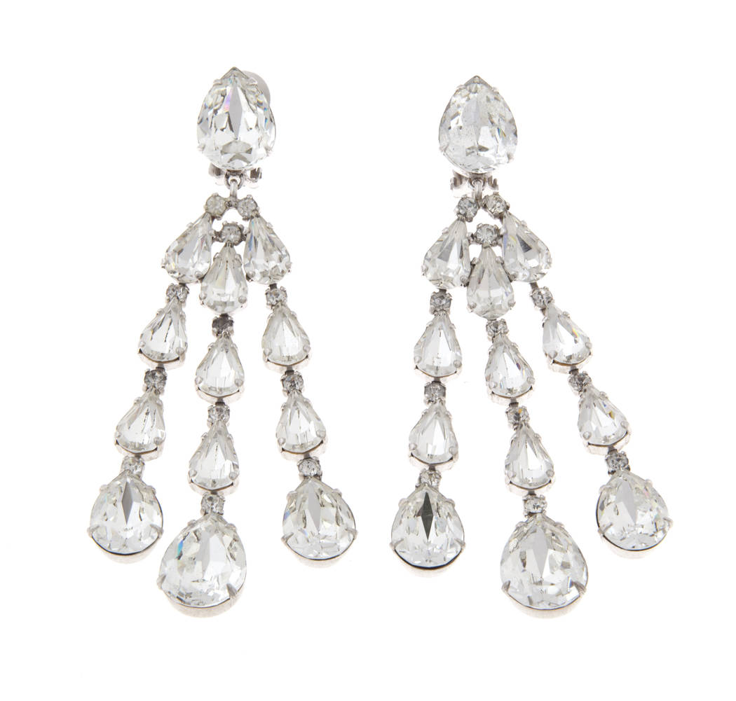 A pair of drop rhinestone ear clips with three strands of teardrop-shaped rhinestones, unmarked. (Julien's Auctions)