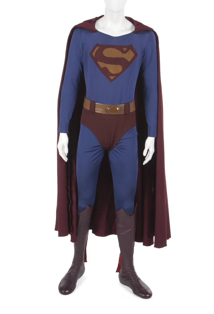 "An original costume worn by Christopher Reeve in ""Superman III"" (Warner Bros., 1983). This style was made to be scene specific to the sequence in which Superman is ""evil,"" and thus the material is ..."
