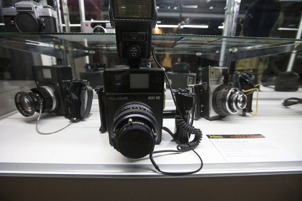 A group of three cameras belonging to late comedian Jerry Lewis on display during the Julian's Auctions Property from the estate of Jerry Lewis inside Planet Hollywood Resort in Las Vegas on Monda ...