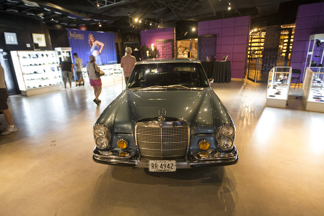 A 1970 Mercedes-Benz 280 SEL purchased new by Elvis Presley and retained until his death on display as part of Julian's Auctions Hollywood Legends collection at Planet Hollywood in Las Vegas on Mo ...