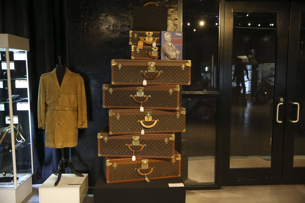 A group of Louis Vuitton trunks belonging to late comedian Jerry Lewis on display during the Julian's Auctions Property from the estate of Jerry Lewis inside Planet Hollywood Resort in Las Vegas o ...