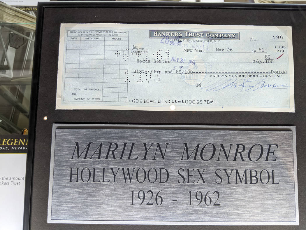 A check signed by Marilyn Monroe on display as part of Julian's Auctions Hollywood Legends collection at Planet Hollywood in Las Vegas on Monday, June 18, 2018. Items from the Hollywood Legends co ...