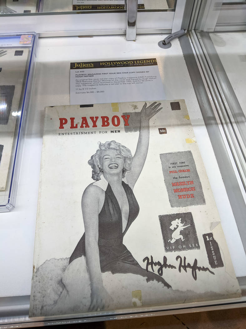 A first issue copy of Playboy magazine featuring Marilyn Monroe and autographed by Playboy's founder Hugh Hefner on display as part of Julian's Auctions Hollywood Legends collection at Planet Holl ...