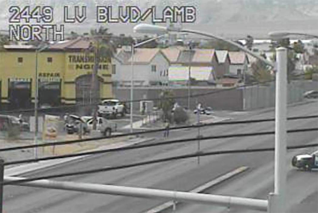 Police work the scene of a fatal car crash on Lamb Boulevard north of Las Vegas Boulevard on Friday. (RTC cameras)