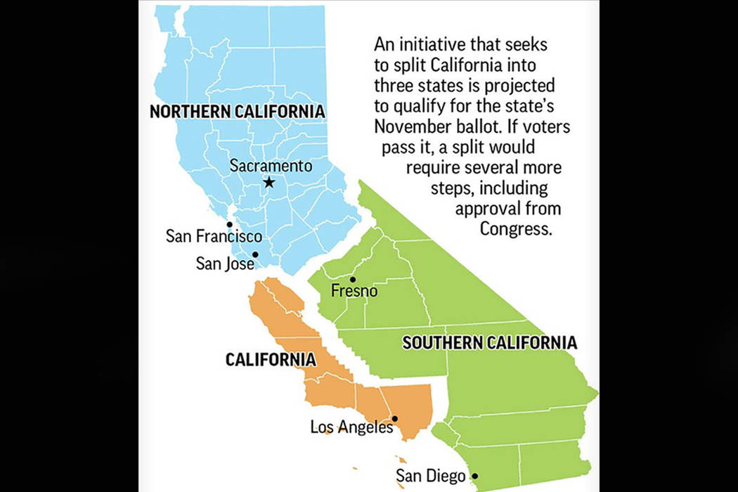 California split plan on November ballot (The Associated Press graphic/Source: Citizens for Cal 3)