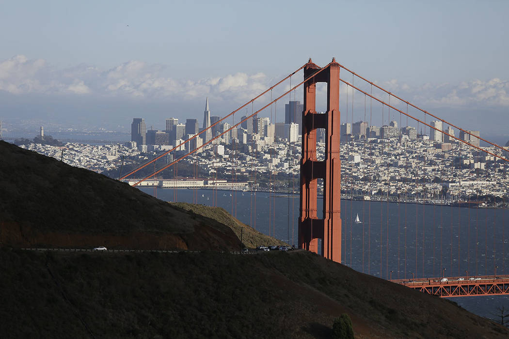This Oct. 28, 2015, file photo shows the Golden Gate Bridge and San Francisco skyline from the Marin Headlands above Sausalito, Calif. (AP Photo/Eric Risberg, File)