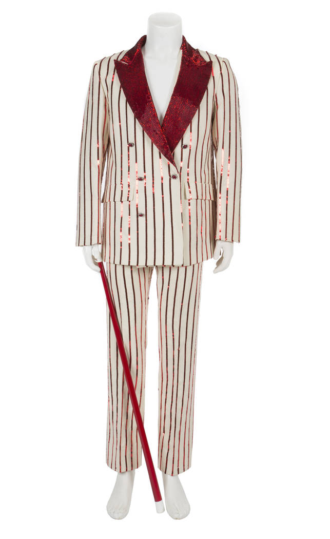 Offered for sale at the Julien's Jerry Lewis & Hollywood Legends Auction on Friday at Planet Hollywood: A custom made tweed burgundy suit worn by Jerry Lewis in The Nutty Professor (Paramount, 196 ...