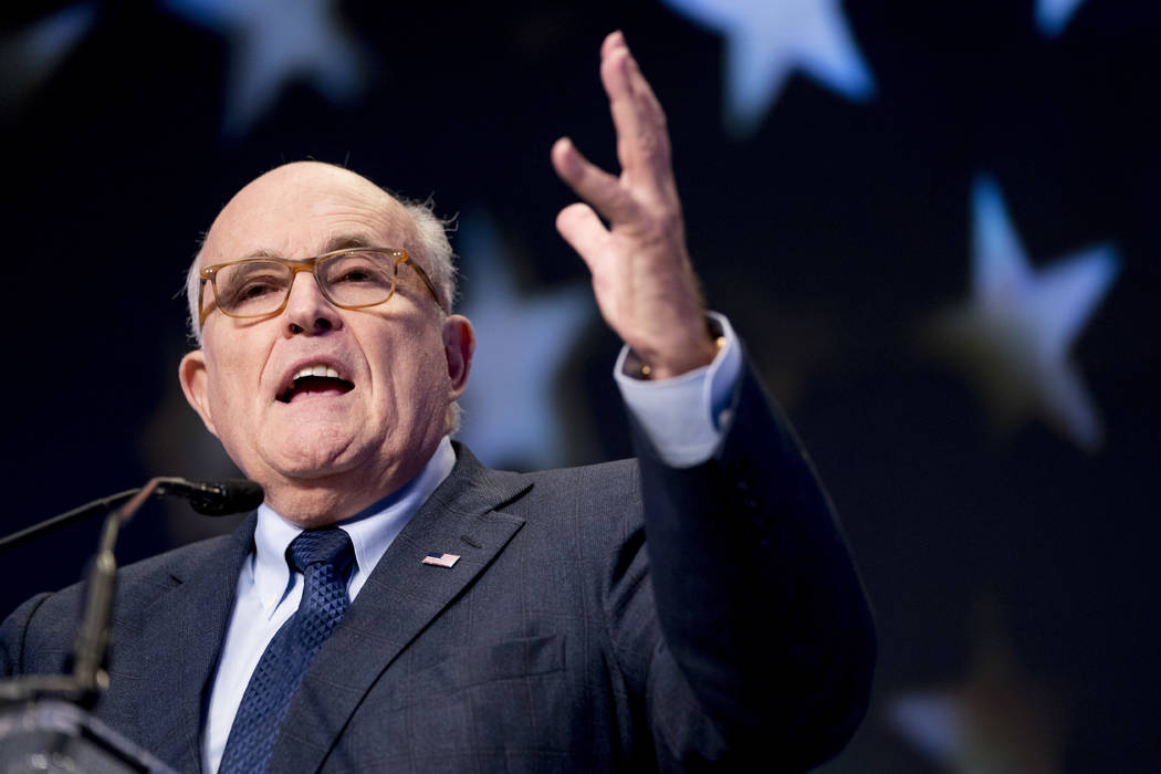 Rudy Giuliani speaks at the Iran Freedom Convention for Human Rights and democracy in Washington, May 5, 2018. (Andrew Harnik/AP, File)