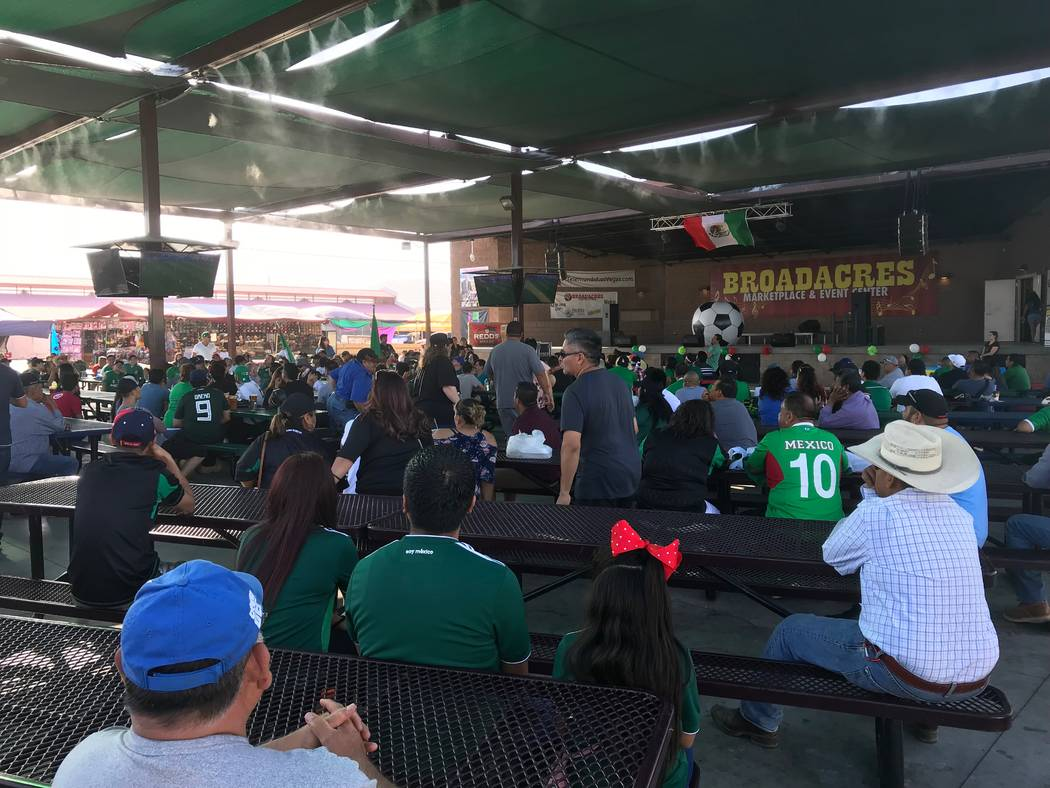 Fans watch Mexico's World Cup match against Germany at Broadacres Marketplace in Las Vegas on Sunday. (Lights FC)