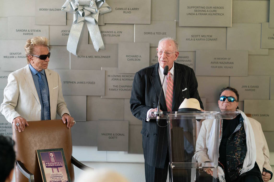 Siegfried & Roy are shown with former Las Vegas Mayor Oscar Goodman at Cleveland Clinic Lou Ruvo Center for Brain Health on Siegfried's 79th birthday on Thursday, June 14, 2018. (Cashman Photo)