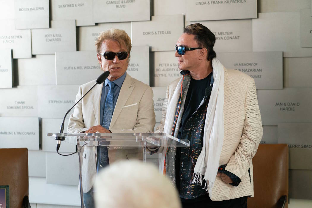 Siegfried & Roy are shown at Cleveland Clinic Lou Ruvo Center for Brain Health on Siegfried's 79th birthday on Thursday, June 14, 2018. (Cashman Photo)