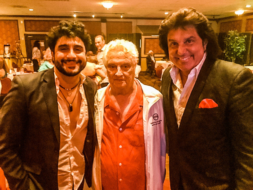 "Tommy DeVito of the Four Seasons is shown with ""Vin A."" Adinolfi and Vinny Adinolfi of the Bronx Wanderers at DeVito's 90th birthday party at Italian American Club on Friday, June 16, 2018. (The B ..."