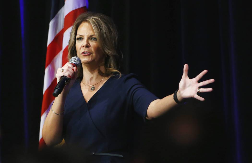 Arizona Senate candidate Kelli Ward speaks at a campaign rally in Scottsdale, Ariz., on Oct. 17, 2017. A possible U.S. Senate vacancy in Arizona would be temporarily filled by a Republican appoint ...
