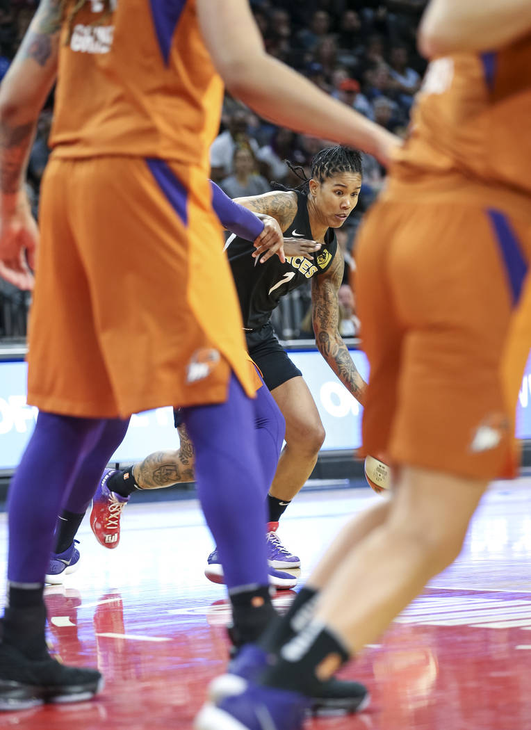 Las Vegas Aces forward Tamera Young (1) in actions against the Phoenix Mercury during the second half of a WNBA basketball game at the Mandalay Bay Events Center in Las Vegas on Sunday, June 17, 2 ...