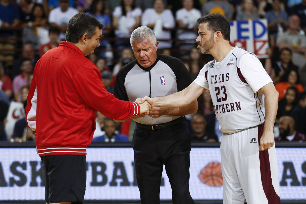 Sen. Ted Cruz and Jimmy Kimmel shake hands before the Blobfish Basketball Classic and one-on-one interview at Texas Southern University's Health & Physical Education Arena Saturday, June 16, 2 ...