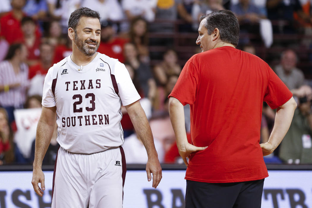 Jimmy Kimmel and Sen. Ted Cruz face off during the Blobfish Basketball Classic and one-on-one interview at Texas Southern University's Health & Physical Education Arena Saturday, June 16, 2018 ...