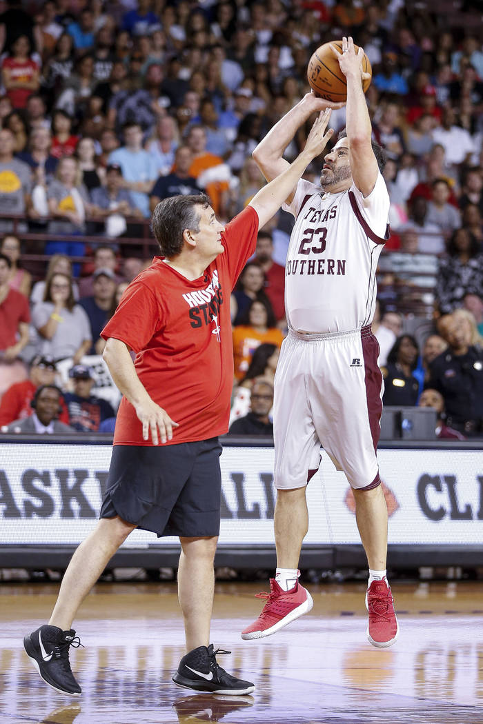 Jimmy Kimmel takes a shot over senator Ted Cruz during the Blobfish Basketball Classic and one-on-one interview at Texas Southern University's Health & Physical Education Arena Saturday, June ...