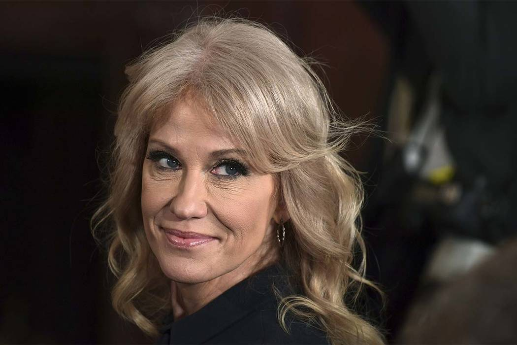 In this March 6, 2018, file photo, White House counselor Kellyanne Conway attends a news conference in the East Room of the White House in Washington. Conway on Sunday, June 17, 2018, distanced th ...
