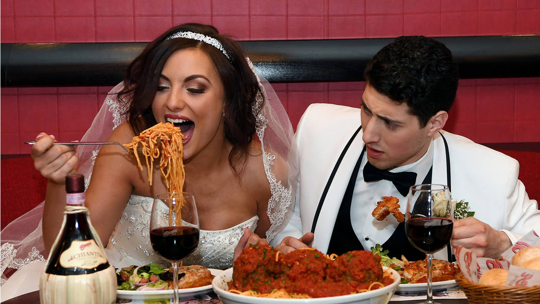 """Rachel Swindler and Joseph Ben Shimon are shown in a promotional photo for """"Tony n' Tina's Wedding,"""" which relaunches at Buca di Beppo at Bally's on June 15. (Tony n' Tina's Wedding)"""