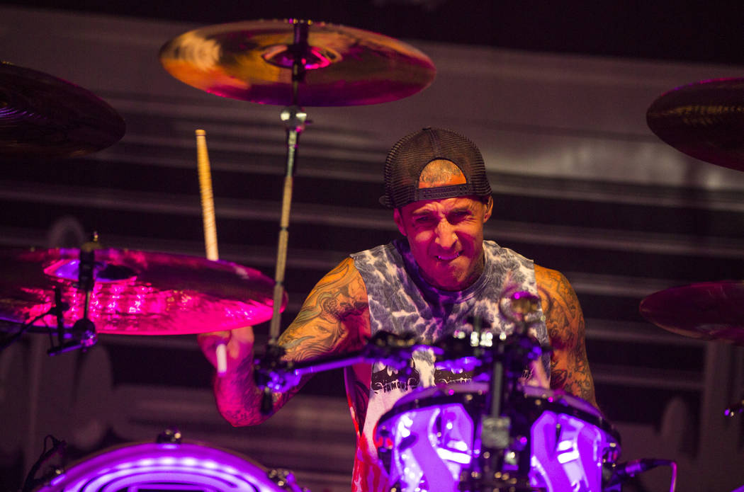 Travis Barker of Blink-182 performs as part of the band's residency at the Pearl at the Palms in Las Vegas on Friday, June 8, 2018. Chase Stevens Las Vegas Review-Journal @csstevensphoto