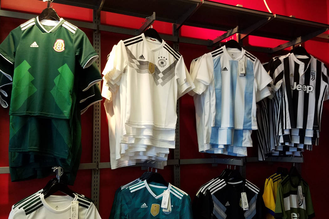 2018 FIFA World Cup soccer jerseys hang on the wall at Soccer Zone in Henderson, Nevada on Monday, June 18, 2018. Ron Kantowski/Las Vegas Review-Journal