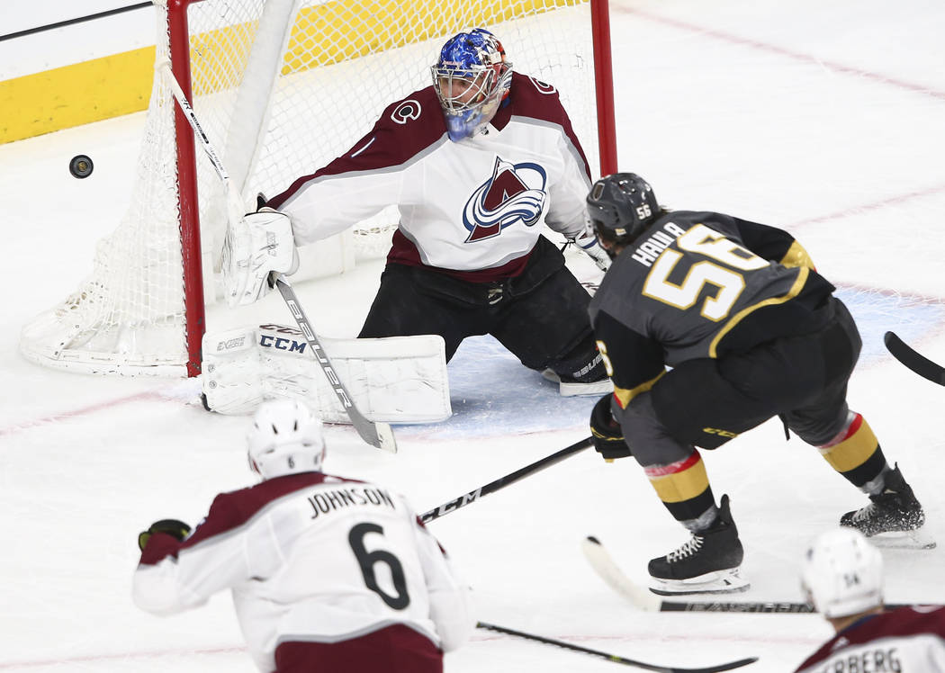 Colorado Avalanche goaltender Semyon Varlamov (1) blocks a shot from Golden Knights left wing Erik Haula (56) during the first period of an NHL hockey game at T-Mobile Arena in Las Vegas on Monday ...
