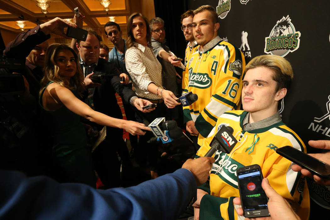 Humboldt Broncos, from left, Tyler Smith, Kaleb Dahlgren and Ryan Straschnitzki to talk to the news media at the Encore at Wynn Las Vegas Tuesday, June 19, 2018. K.M. Cannon Las Vegas Review-Jour ...