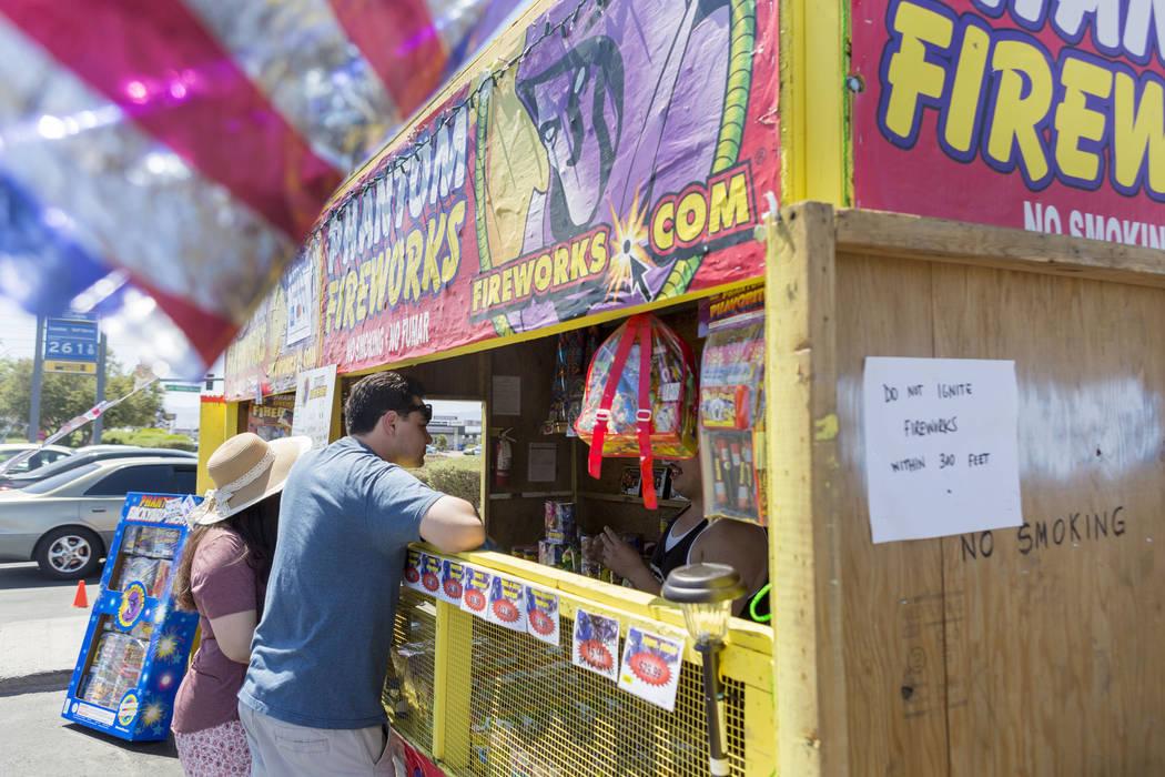 "Legal fireworks, designated as ""safe and sane,"" go on sale June 28 through July 4. (Elizabeth Brumley/Las Vegas Review-Journal)"