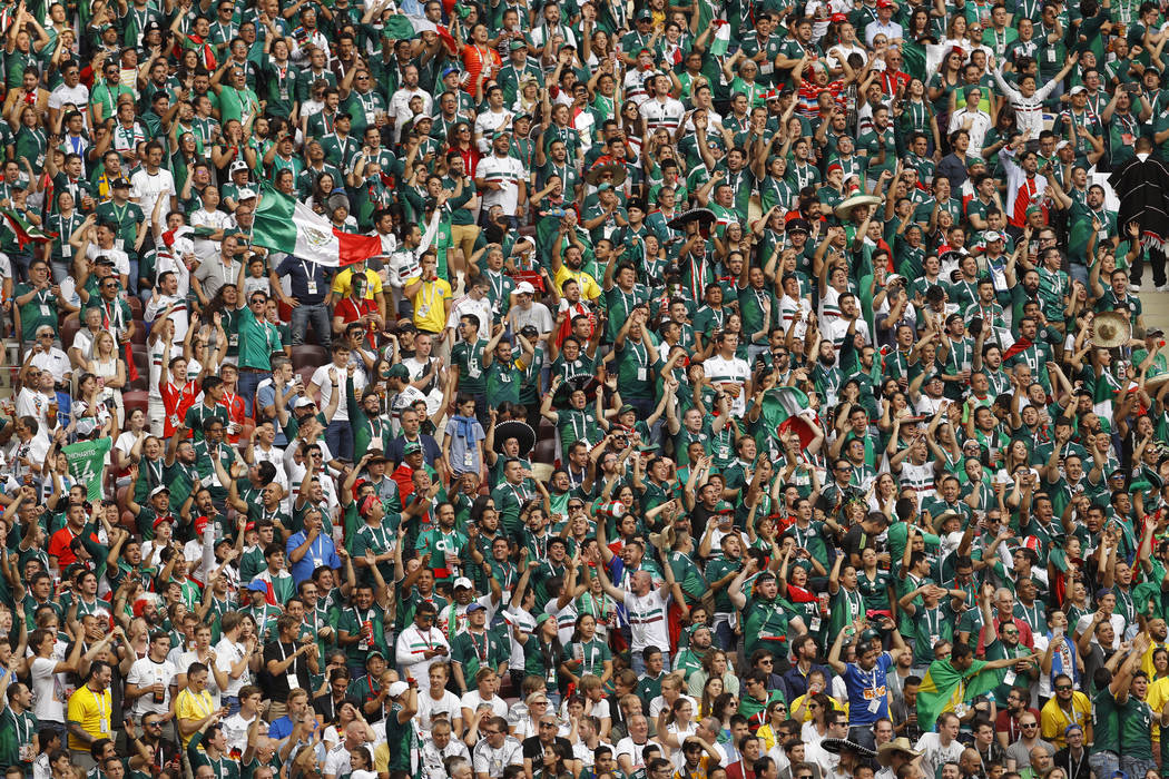 Mexico supporters watch the group F match between Germany and Mexico at the 2018 soccer World Cup in the Luzhniki Stadium in Moscow, Russia, Sunday, June 17, 2018. (AP Photo/Victor R. Caivano)