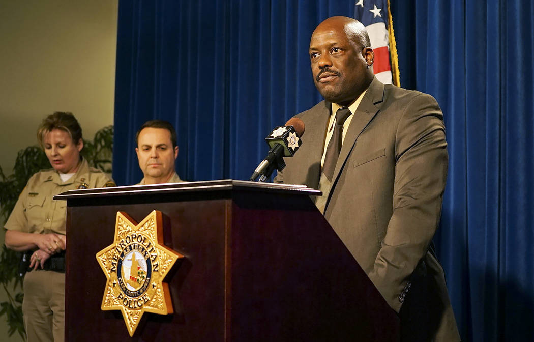 Metropolitan Police Assistant Sheriff Tim Kelly discusses the June 14th officer involved shooting that occurred at Radwick Drive and Owens Avenue in Las Vegas, Monday, June 18, 2018. The suspect k ...