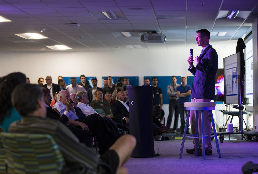 Brian Maue, director of AFWERX, speaks at the grand debut of the completed Innovation Center and Prototyping Lab at AFWERX Vegas in Las Vegas on Tuesday, June 19, 2018. Chase Stevens Las Vegas Rev ...
