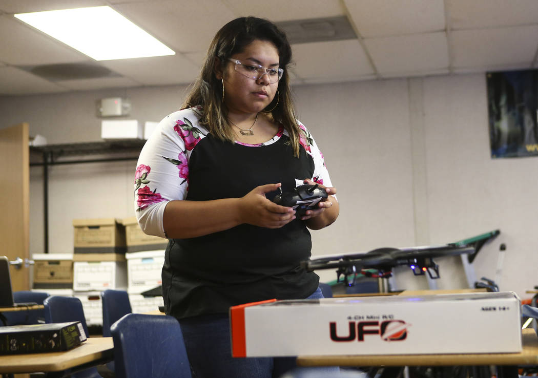 Daniela Castaneda flies a drone at Nevada Partners Resource Center in Las Vegas on Tuesday, June 19, 2018. The Regional Workforce Development Center, which will house the new Intel Future Skills P ...