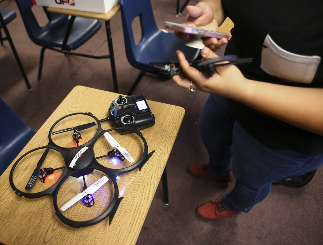 Daniela Castaneda prepares to fly a drone at Nevada Partners Resource Center in Las Vegas on Tuesday, June 19, 2018. The Regional Workforce Development Center, which will house the new Intel Futur ...