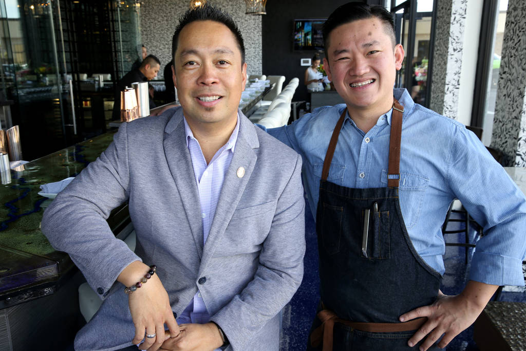 General Manager and Managing Partner Luis de Santos, left, and Chef and Managing Partner Khai Vu at Mordeo Boutique Wine Bar at 5420 Spring Mountain Road in Las Vegas Wednesday, June 13, 2018. K.M ...