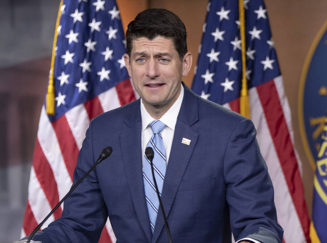 In this June 7, 2018, photo, House Speaker Paul Ryan, R-Wis., takes questions from reporters on Capitol Hill in Washington. Ryan said Thursday he's not comfortable with a Trump administration poli ...