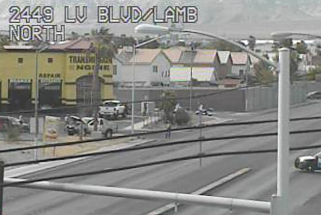 Las Vegas police work the scene of a fatal car crash on Lamb Boulevard north of Las Vegas Boulevard on Friday, June 15, 2018. (RTC Cameras)