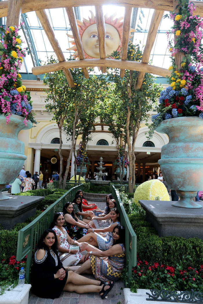 Friends from Owensboro, Ky. and Toledo, Ohio pose at ÒThatÕs AmorŽ,Ó the Bellagio Conservatory's summer display Monday, June 18, 2018. The display, based on an Italian summer, ...