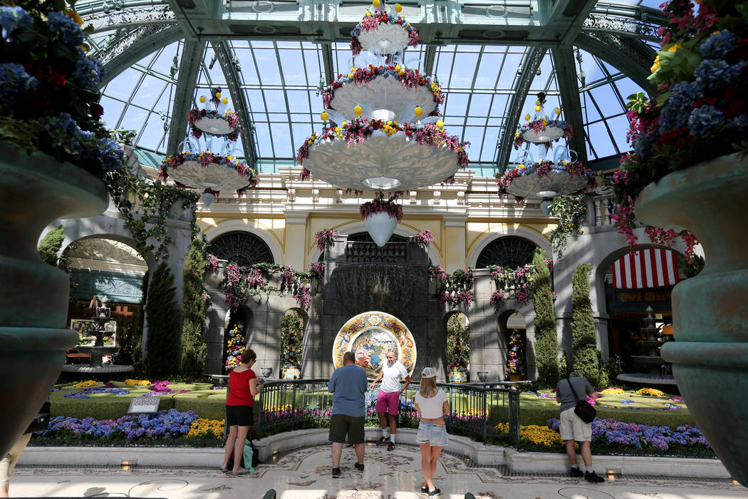 Guests check out ÒThatÕs AmorŽ,Ó the Bellagio Conservatory's summer display Monday, June 18, 2018. The display, based on an Italian summer, will be will be open through Septem ...