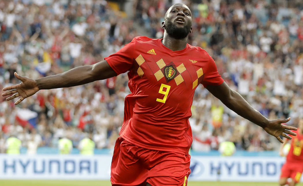 Belgium's Romelu Lukaku celebrates after he scored his side's third goal during the group G match between Belgium and Panama at the 2018 soccer World Cup in the Fisht Stadium in Sochi, Russia, Mon ...