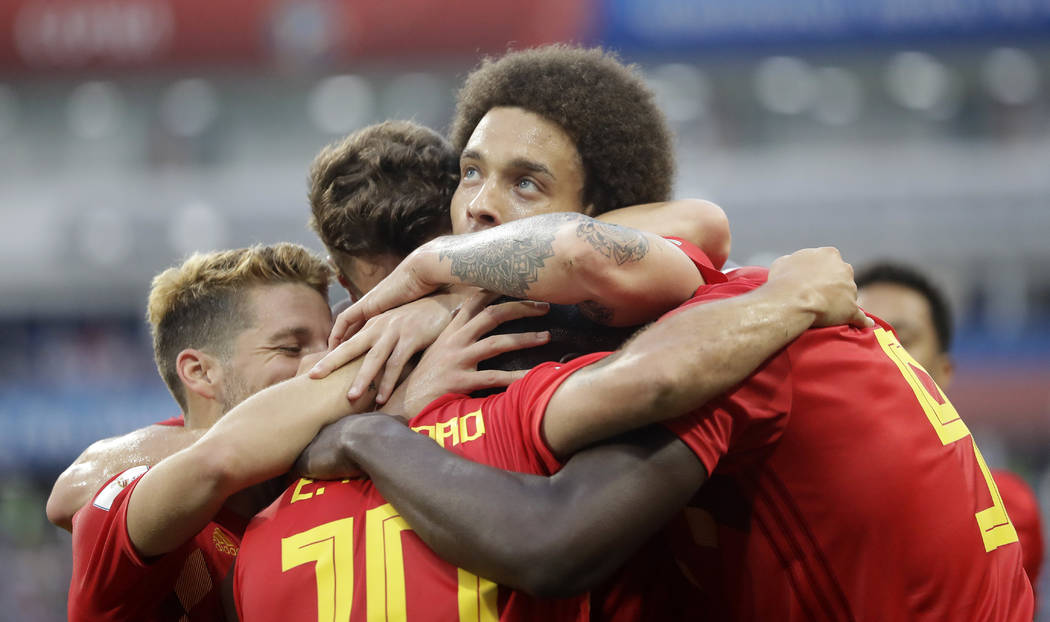 Belgium's Romelu Lukaku, right, is celebrated after he scored his side's third goal during the group G match between Belgium and Panama at the 2018 soccer World Cup in the Fisht Stadium in Sochi, ...