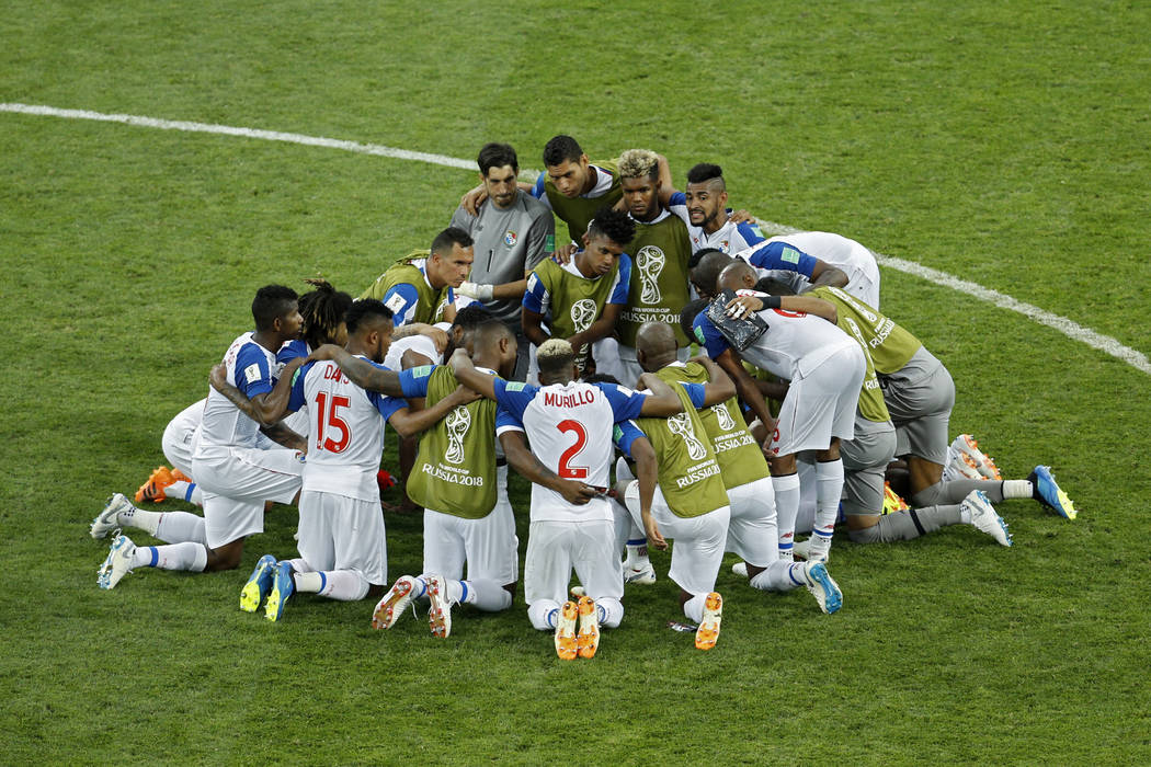 Panama players gather in a circle at the end of the group G match between Belgium and Panama at the 2018 soccer World Cup in the Fisht Stadium in Sochi, Russia, Monday, June 18, 2018. Belgium won ...