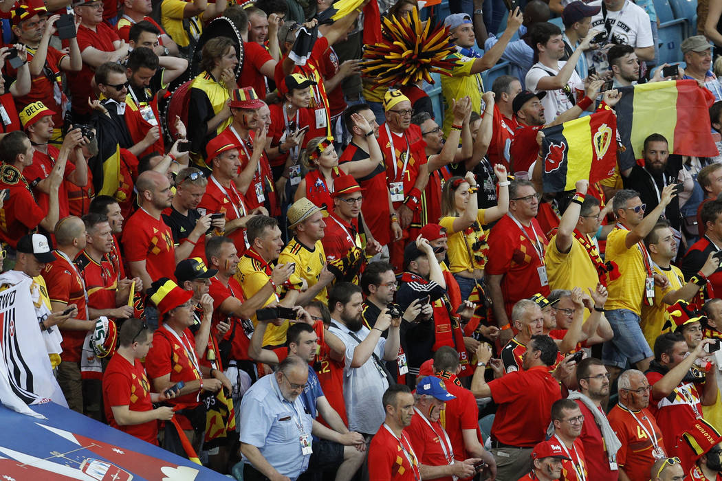 Belgium fans cheer at the end of the group G match between Belgium and Panama at the 2018 soccer World Cup in the Fisht Stadium in Sochi, Russia, Monday, June 18, 2018. Belgium won 3-0. (AP Photo/ ...